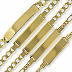 9CT GOLD SOLID FIGARO CURB ID IDENTITY TAG LADIES GENTS CHILDS BRACELET GIFT BOX