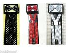 POLKA DOT SUSPENDERS and BOW TIE COMBO SET Fashion Suspender and Bowtie polkadot