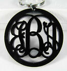 Custom Black Monogram Keychain