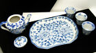 Childs Blue White Tea Sake Set Tray Pot 3 Cups Marked on Lookza