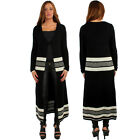Women Long Maxi Striped Cardigan Outwear Knit Sweater Jumper Loose Coat Jacket
