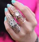 Girls Fashion Punk Cross Open Long Finger Armor Ring Knuckle Rhinestone Gifts