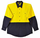 Mens High Visibility Hi Vis Fluoro Cotton Safety Shirt Long Sleeve S-7XL  54