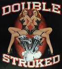 T-Shirt #418 Double Stroke, PIN UP Biker Rockabilly Hot Rod