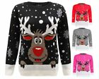 UNISEX WOMENS KNITTED REINDEER CHRISTMAS XMAS SNOW FLAKES MENS JUMPER TOP 8-30