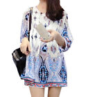 Women 3/4 Sleeve Pullover Floral Novelty Prints Casual Tunic Dress