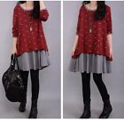 Splicing Color Long Sleeve Loose Party Casual Dress Polka Dot Clothing