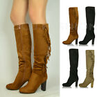 NEW LADIES WOMENS KNEE HIGH BLOCK HEEL BOOTS FAUX SUEDE RIDING FRINGE SHOES SIZE