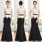 Women's Black Short Sleeve Round Neck Long Evening Formal Prom Party Dress 08516
