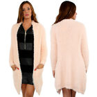Women Faux Fur Cardigan Outerwear Knit Sweater Jumper Loose Jacket UK8 /14 Pink