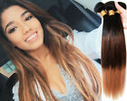 """NEW Ombre color 1B/33/27# Virgin Brazilian Human Hair Weave 12""""-30"""" Straight 6A"""