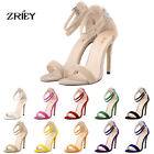Women's Flannelette Strappy Stiletto HIGH HEEL Sandals Ankle Strap Cuff Peep Toe