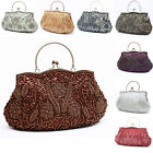 Women Embroidery Beaded Evening Bag Fashion Party Prom Floral Handbag Clutch Bag