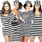 Sexy Convict Girl + Handcuffs Ladies Fancy Dress Cops & Robbers Womens Costume