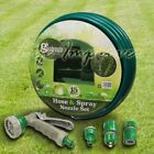 30M Garden 3 Ply Hose Pipe Nozzle Spray  Gun Set Tap Connector Reinforced Kit