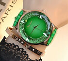 Hot Gift Fashion Leather Band Golden Plated Crystal Women's Wristwatches Watches