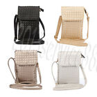 3 Pocket Cross Body Wallet Case Woven Leather Phone Mini Bag For iPhone/Samsung