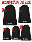 PLAIN Black Cotton Sack drawstring bag Decorate for Christmas toys laundry etc
