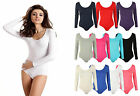 NEW WOMENS PLAIN LONG SLEEVE BASIC STRETCH JERSEY LEOTARD BODYSUIT TOP 8-14