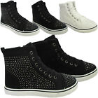 NEW GIRLS WOMENS LADIES FLAT DIAMANTE HIGH TOP LACE UP PUMPS RUNNING CASUAL SIZE