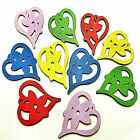 5 COLOURFUL WOODEN FLOWER IN A HEART PENDANT CHARMS 47mm Jewellery Crafts