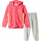adidas Essential Hooded Jogger Girls Tracksuit Set Pink/Grey