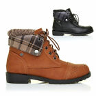 LADIES LUXURY LACE UP HIKING ANKLE BOOTS WOMENS LOW HEEL FLAT WALKING SHOES SIZE