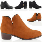 WOMENS CUT OUT LOW HEEL BLOCK COWBOY LADIES FAUX LEATHER ANKLE BOOTS SHOES SIZE