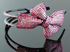 Brilliant FUCHSIA Glamour Bow Crystal Rhinestone headband-Bridal, wedding, child