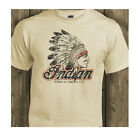 Indian Motorcycles Classic Biker USA Distressed Print Natural T-Shirt