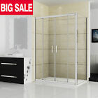 New Walk In Shower Enclosure Sliding Door Cubicle Side Panel Stone Tray BC