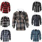 Sherpa Fleece Lined Check Hooded Lumberjack Jacket  Mens Size