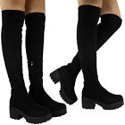 NEW LADIES THIGH HIGH OVER THE KNEE LONG PLATFORM CHUNKY CLEATED HEEL BOOTS SIZE