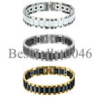 Wide Link Magnetic Therapy Stainless Steel Ceramic Men's Magnetic Bracelet Cuff