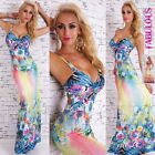 New Sexy Floral Print Maxi Summer Dress Party Evening Size 6 8 10 12 XS S M L