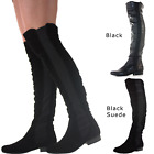 LADIES WOMENS KNEE THIGH HIGH OVER THE KNEE LOW FLAT HEEL STRETCH BOOTS SIZE