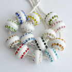 Fashion Round White Resin Rhinestone Crystal Charms Beads Fit European Bracelets