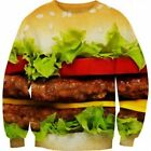 Women Men 3d Hamburger Burger Sweater Hoodies Crewneck Fashion Sweatshirt Tops