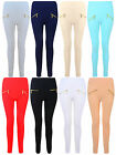 WOMENS LADIES LEGGINGS STRETCH PLAIN COLOUR ZIP DESIGN ONE SIZE UK 8-14 BNWT