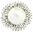 Size 5.5~10 Woman's Jewelry Stunning Imitation Pearl Gems Platinum Plated Ring
