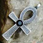 Celtic Ankh Key of life Acrylic Crystal Element Earth Black Onyx pewter pendant