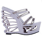 Black/White Strappy Wedge Butterfly Heels Mule Slide Sandals UK Size 2.5/3/4/5/6