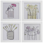 A Selection of Floral Screen Prints  in Black or White Frames by Frame Company