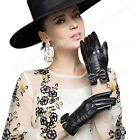 Women's Lady Winter Warm Genuine Leather Gloves For Women Black Cashmere lining