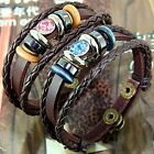 Cool Style Punk Unisex Women Men Wristband Metal Studded Leather Bracelet Chain