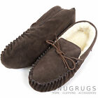 Mens Genuine Suede Moccasin / Sheepskin Slipper with Soft Suede Sole Dark Brown