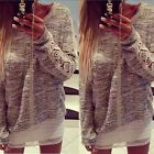 Hot Women/Girl Crew Neck Long Sleeve Lace Jumper Pullover Tops Blouse Sweater