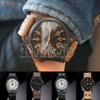 Retro Men's Fashion Sport Watches Military Leather Band Quartz Date Wrist Watch