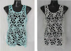 FILO - Ladies Knit Crotchet Lace Sleeveless Top Boho Cover up Size 8 10 12 14 16