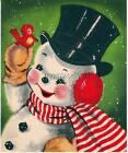 Vintage FROSTY The Snowman with red Bird Quilting Fabric Block